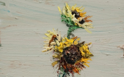 Sunflowers #7, oil on canvas stretched on panel, 2009, detail