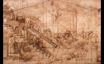 Leonardo, Architectural Study for the Adoration of the Magi, detail