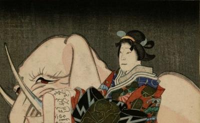 Utagawa Sadahiro, Eguchi no Kimi seated on a recumbent pink elephant, 1850, deta