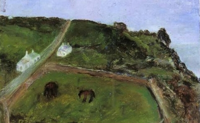 Sylvia Levine, Cornish Landscape with Donkeys, 1987, detail