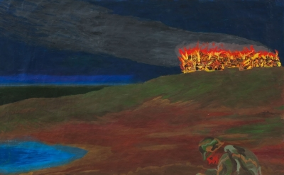 Charles Garabedian, Starless Night, 2009, acrylic on paper, 48 x 81 inches