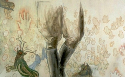 Jo Baer painting, Of a Fearful Symmetry (Bound Hand and Foot), 1991, detail
