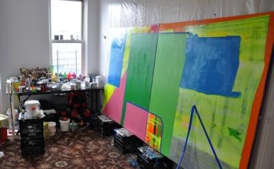Paul Behnke studio view, Brooklyn