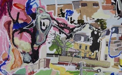 Dan Talbot, The Eighties and The Nineties, oil on paper, detail