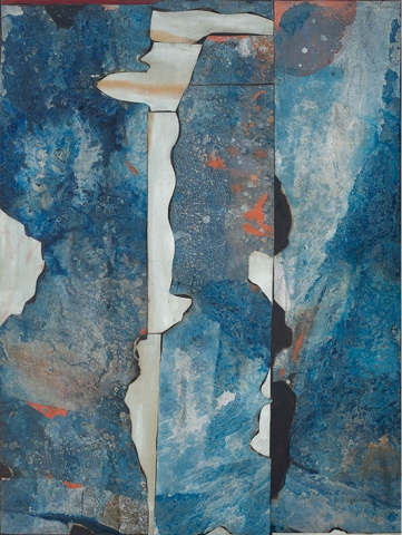 Romare Bearden, River Mist, 1962, mixed media, 54 x 40 inches (The Romare Bearden Foundation, Courtesy of DC Moore Gallery, NY © Romare Bearden. Foundation/Licensed by VAGA, New York, NY)