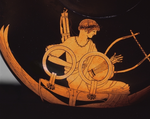 Attributed to the Berlin Painter, c. 500–490 BC, detail from Red-figure hydria showing Apollo seated on a winged tripod (Vatican Museums)