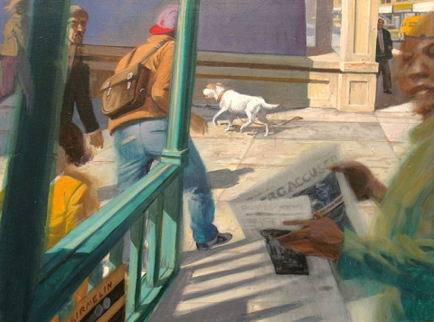 Robert Birmelin, Steps – The White Dog, acrylic on canvas, 18 in x 24 inches, 2004 (courtesy of the artist)