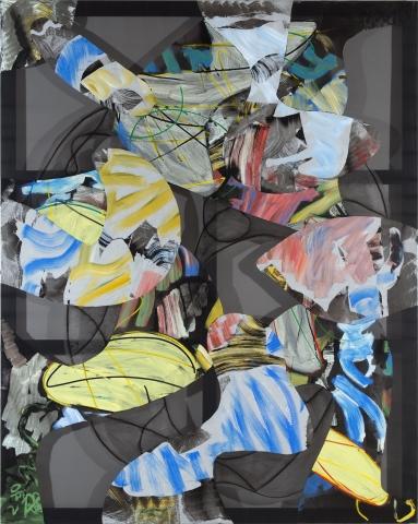 Christian Bonnefoi, Eureka VIII, 2012-13, acrylic on trevira, 98 1/2 x 78 3/4 inches (courtesy CHB, photo Camille Bonnefoi)