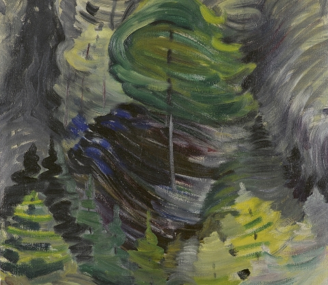 (detail) Emily Carr, Juice of Life, 1938–39, oil on canvas (Collection of the Art Gallery of Greater Victoria, Gift of Dr. Ethlyn Trapp, Vancouver. Photo: Stephen Topfer, Art Gallery of Greater Victoria)