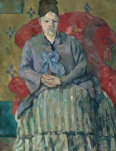 Paul Cézanne, Madame Cézanne in a Red Armchair, 1877, oil on canvas, 28 1/2 × 22 inches (Museum of Fine Arts, Boston, Bequest of Robert Treat Paine, 2nd. Photo: © 2017 Museum of Fine Arts, Boston)