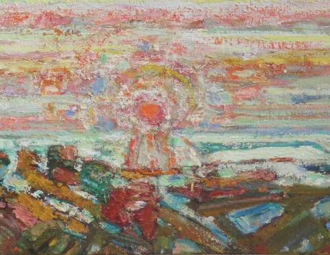 (detail) Bernard Chaet, Orange A.M., 2001, oil on canvas (courtesy of Alpha Gallery)
