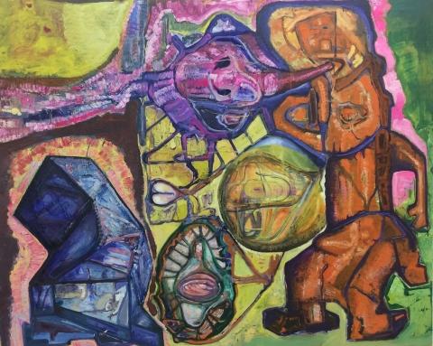 Steve DiBenidetto, Apprentice, 2016, oil on linen, 48 x 60 inches (courtesy of Cherry and Martin)