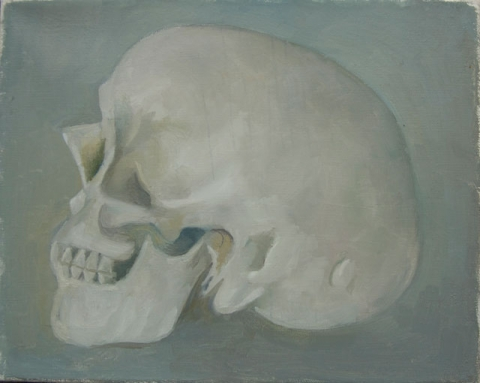 Peter Dreher, Skull, 2016, oil on canvas, 20 x 25 cm (courtesy of the artist and Mayor Gallery)