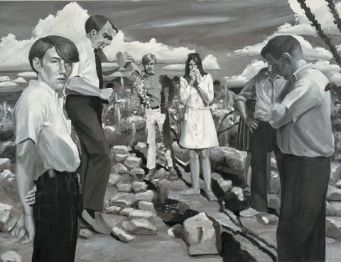 (detail) Eric Fischl, A Funeral, 1980, oil on canvas, 60 x 96 inches (courtesy of Hirshhorn Museum and Sculpture Garden, Smithsonian Institution, Washington, D.C.)
