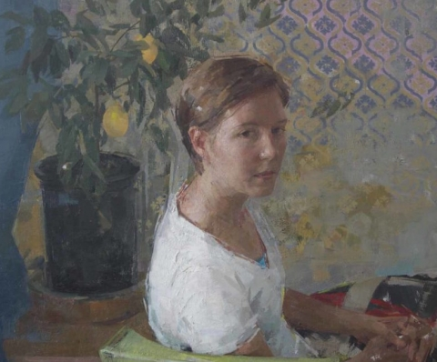 (detail) Zoey Frank, Laura On The Green Chair, 2016, oil on panel, 36 x 36 inches (courtesy of the artist)