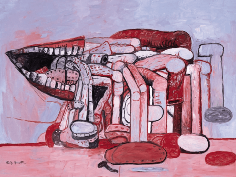 Philip Guston Painter's Forms II 1978 oil on canvas, 75 x 108 inches (Modern Art Museum of Fort Worth © The Estate of Philip Guston Courtesy of the Estate, Gallerie dell'Accademia and Hauser & Wirth)
