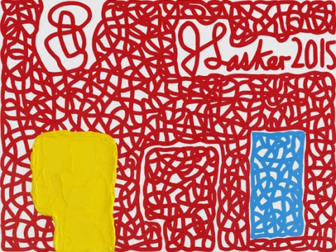 Jonathan Lasker, Signatory Powers, 2015, oil on canvasboard, 12 × 16 inches (courtesy of Cheim & Read)