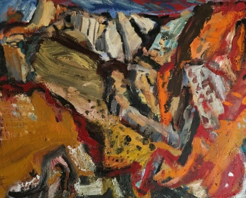 Lynette Lombard, RockSlide, 38 x 48 inches, oil on canvas, 2016  (courtesy of the artist)