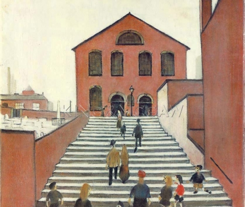 (detail) LS Lowry, Old Church and Steps, 1960
