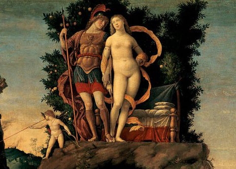 (detail) Andrea Mantegna, Parnassus (Mars and Venus), 1497, tempera and gold on canvas, 63 x 76 inches