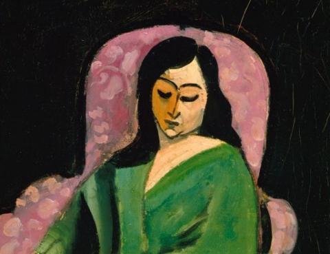 (detail) Henri Matisse, Laurette in Green Robe (Black Background), 1916, oil on canvas, 28.75 x 21.5 inches (Metropolitan Museum of Art)