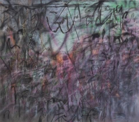 Julie Mehretu, Conjured Parts (eye), Ferguson, 2016, ink and acrylic on canvas, 84 x 96 inches (courtesy of Marian Goodman Gallery)