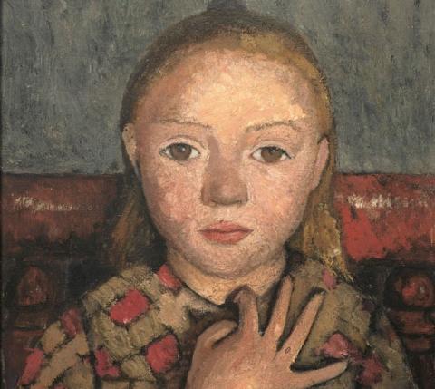 (detail) Paula Modersohn-Becker, Portrait de jeune fille, les doigts écartés devant la poitrine, c. 1905, tempera on canvas, 41 x 33 cm (Von der Heydt-Museum, Wuppertal, © Paula-Modersohn-Becker-Stiftung, Brême)