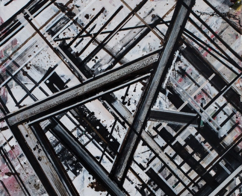 (detail) Ed Moses, Rojo de Walden aka Too Structur, 1979, acrylic on canvas, 60 x 60 inches (courtesy of Albertz Benda)