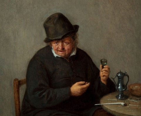 (detail) Adriaen van Ostade, An Old Toper, about 1660–65, oil on panel (Taft Museum of Art)