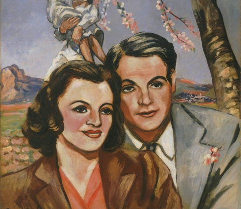 (detail) Francis Picabia, Portrait d'un couple (Portrait of a Couple), 1942–43, oil on board, 41 5/8 × 30 1/2 inches (The Museum of Modern Art, New York. Purchase, 2000. © 2016 Artist Rights Society (ARS), New York/ADAGP, Paris. Photo courtesy The Muse