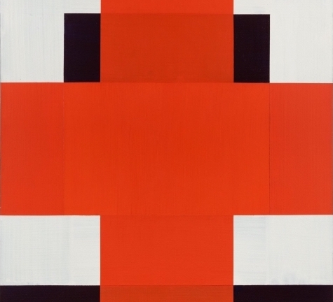 (detail) Harvey Quaytman, Marienburg, 1985, acrylic on canvas, 81 3/4 x 68 1/4 inches  (courtesy of Van Doren Waxter)