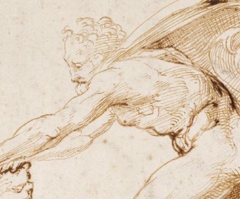 (detail)  Raphael, Hercules overpowering the Nemean lion, c. 1507–08, (Ashmolean Museum, Oxford)
