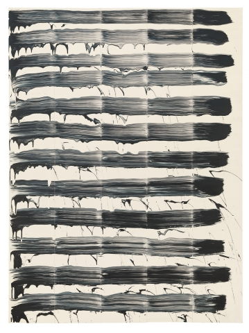 David Reed, #64, 1974, oil on canvas, 6 feet 4 inches x 56 inches (photo by Rob McKeever, courtesy Gagosian)