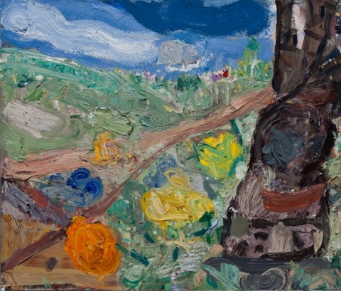 John Santoro, Backyard: Cherry Tree, 2015, oil on canvas, 24 x 28 inches (courtesy of Richard Gray Gallery)