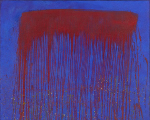(detail) Pat Steir, Vibrating Blue and Red Waterfall, 1993, oil on canvas, 48 x 48 inches (© Pat Steir, 2016, courtesy Dominique Lévy, New York / London)