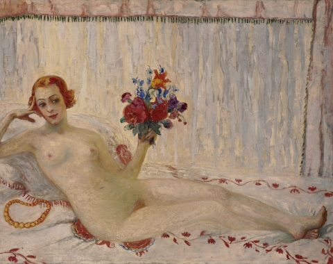 (detail) Florine Stettheimer, Nude Self-Portrait, c. 1915, oil on canvas, 48 1/4 x 68 1/4 inches (courtesy of Art Properties, Avery Architectural & Fine Arts Library, Columbia University)