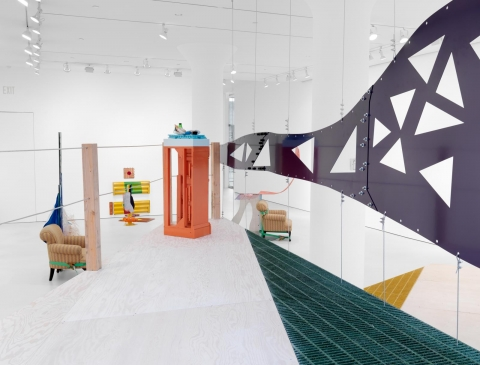 Installation view: Jessica Stockholder, The Guests All Crowded Into the Dining Room at Mitchell-Innes & Nash