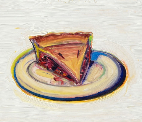 Wayne Thiebaud, Cherry Pie, 2016, oil on paper mounted on board, 8 1/2 x 10 inches (© Wayne Thiebaud/DACS, London/VAGA, New York 2017)