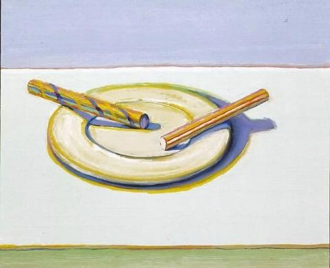 Wayne Thiebaud, Two Candy Sticks, 2004, oil on board, 10 1/2 x 13 3/8 inches (courtesy of John Berggruen Gallery)