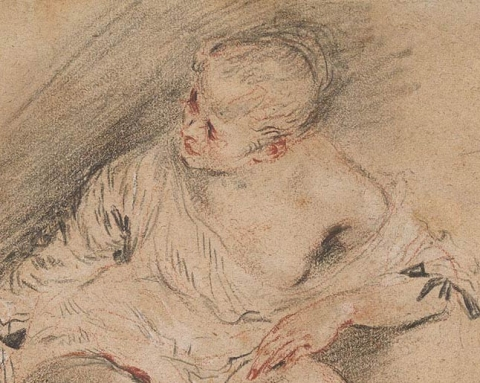 (detail) Antoine Watteau, Young Woman Wearing a Chemise, ca. 1718, black, red and white chalk, 6 3/4 x 8 inches (Thaw Collection, The Morgan Library & Museum)