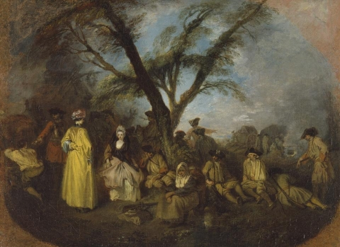 Jean-Antoine Watteau, The Halt, ca. 1710, oil on canvas, 12 5/8 x 16 3/4 inches (Museo Thyssen-Bornemisza, Madrid)