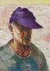 Bernard Chaet, Purple Hat, 1992, oil on canvas 14 in x 10 inches (courtesy of Le
