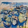 Jon Imber, Mussels and Crabs, Blue Island, 2001, oil on panel, 36 x 36 inches (