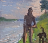 Aaron Lubrick, Dan Walking His Dog, 2013, oil on panel, 14 × 15 inches (courtesy