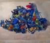 Megan Marlatt, Lost Cerulean Toy Mountain, 2009, acrylic and oil on linen, 42 x