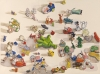Megan Marlatt, Scattered Toys 2, 2009, gouache on paper, 30 x 22 inches (courtes
