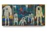 Jan Müller, Bacchanale Triptych, c. 1955-56, oil on panel (3 Parts), 17 3/4 x 36