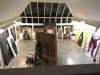 View of Sedrick Huckaby's work in Elaine de Kooning's Studio, view from the studio loft