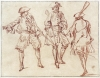 Jean-Antoine Watteau, Three Studies of a Soldier, One from Behind, ca. 1713–15, Red chalk, within black ink framing lines 5 15/16 × 7 13/16 inches (Fondation Custodia, Collection Frits Lugt, Paris)