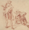 Jean-Antoine Watteau, Two Studies of a Soldier Viewed from Behind, ca. 1712, Red chalk, within brown ink framing lines, 6 5/16 x 6 1/8 inches (Yale University Art Gallery)